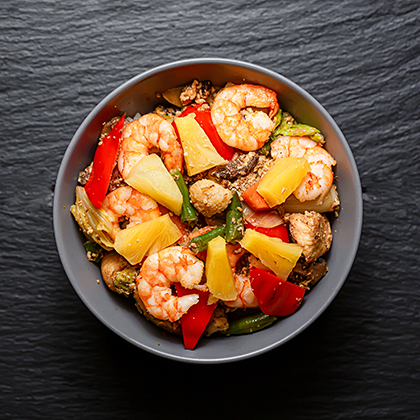 Тайский рис с креветками Кхао Пад Гай